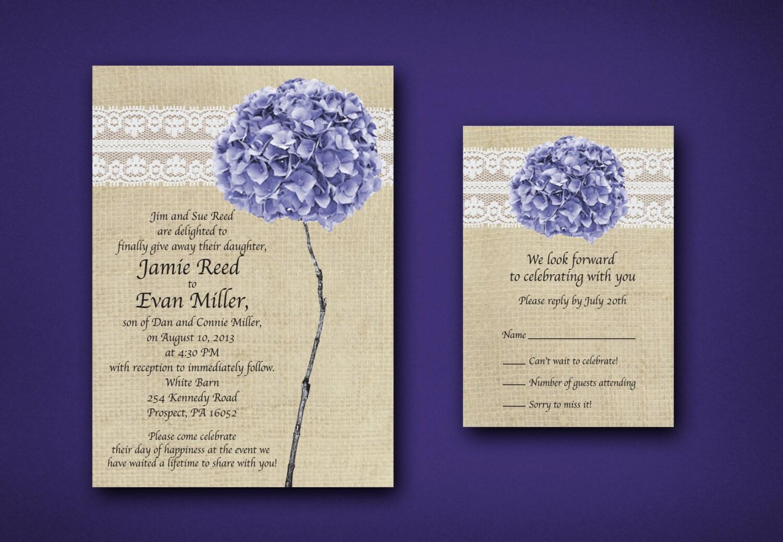 Purple Rustic Wedding Invitations: Burlap Lace & Purple Hydrangea Wedding Invitations Rustic