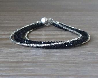 Back Spinel and Karen Hill Tribe Silver Multi-Strand Bracelet, Beaded Gemstone Bracelet