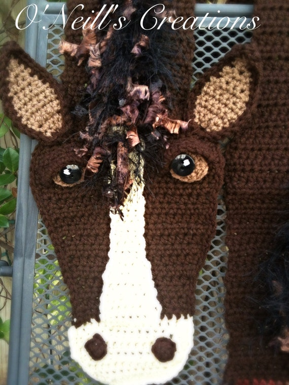 One of kind whimsical crocheted horse scarf. Very detailed