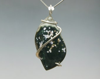 Ocean Jasper with Druzy Cold Forged Sterling Silver Pendant