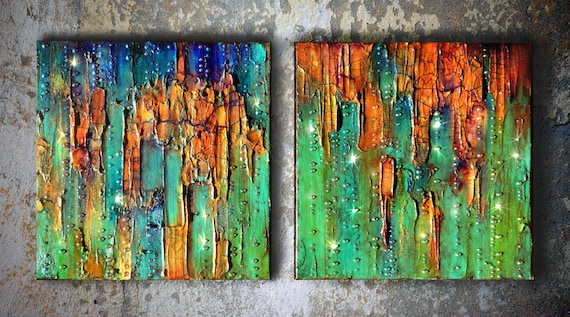 Original abstract art turquoise painting mixed media art for Emerald city wall mural