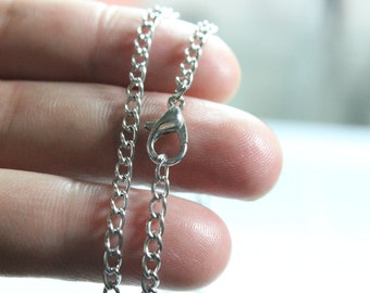 Silver Chain Necklace, Plain Solid Silver Chain, Cable Chain 75cm metal chain