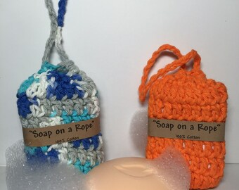 Soap on a Rope, Handmade Crochet Soap holder and Scrubber in One