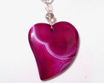 Large Magenta Agate Heart with earrings
