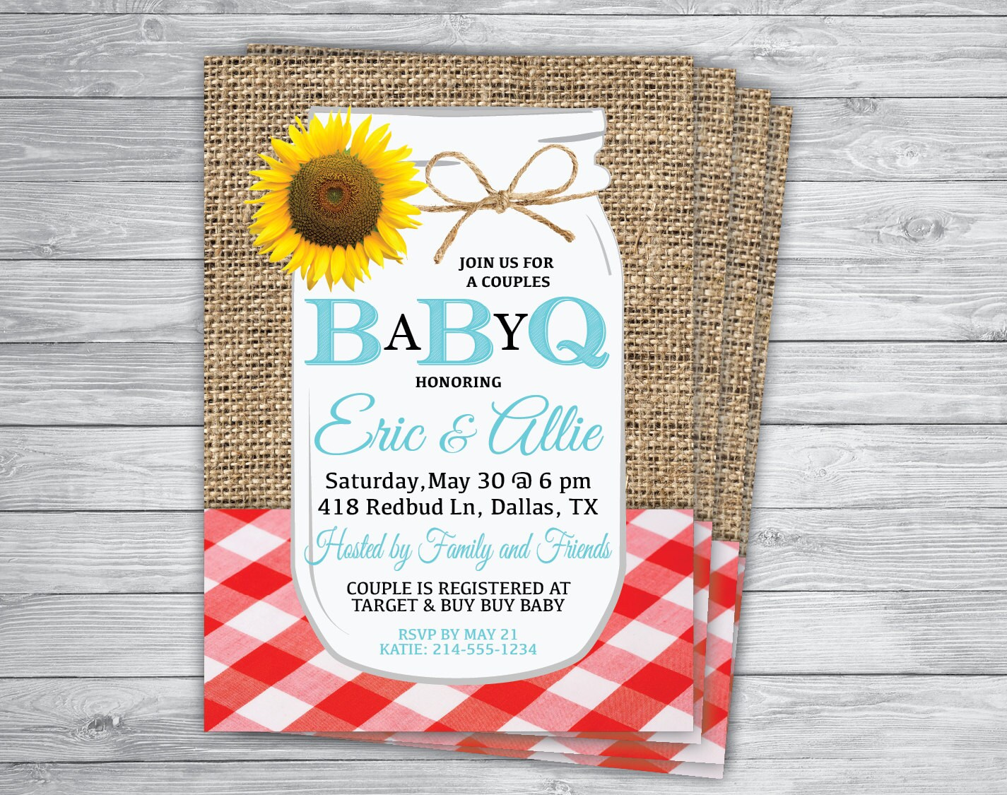 BBQ BABY WEDDING Any Event Or Color Gingham Invitations