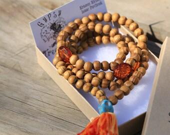 Wood Beaded Mala with Amber Beads