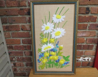 1980 Daisy Crewel Embroidery Framed