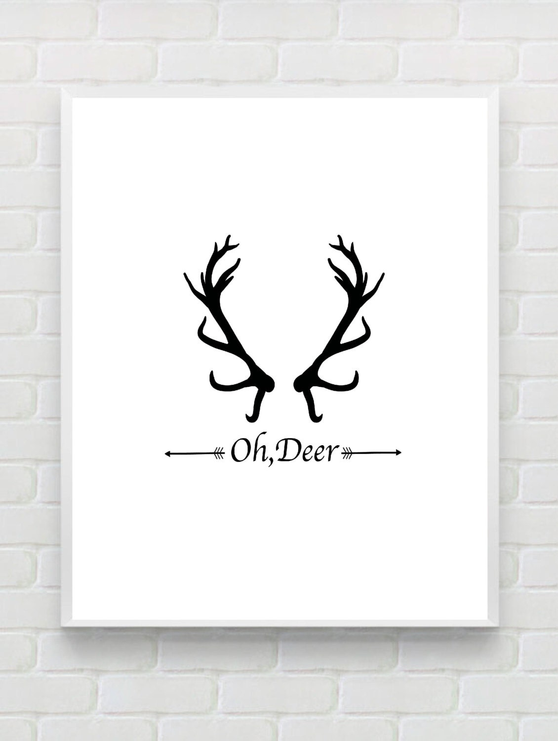 Printable art 39 oh deer 39 print typography art print for Black and white mural prints