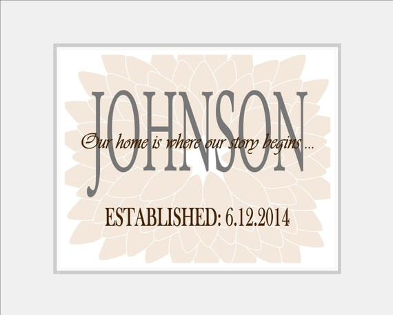 personalized wall art custom family print last name print. Black Bedroom Furniture Sets. Home Design Ideas