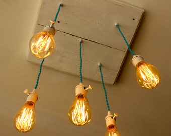 Edison Bulb Industrial Chandelier BeachAqua Cottage Lights