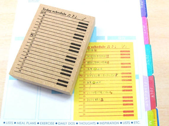 Calendar Sheet Rubber : Japanese rubber stamp for erincondren postcard tiny