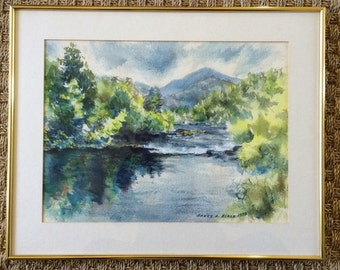 Vintage watercolor painting  | original watercolor | landscape painting | river painting | mountain painting | Bruce Blair | brass
