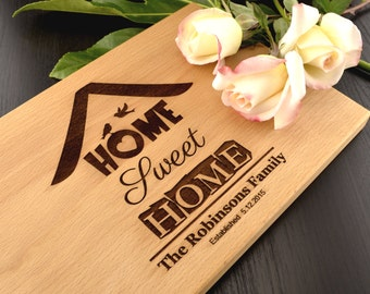 Home Sweet Home Custom Cutting Board, Personalized Housewarming Gift, Hostess Gift, Realtor Closing Gift, Kitchen Decor, Wood Chopping Block