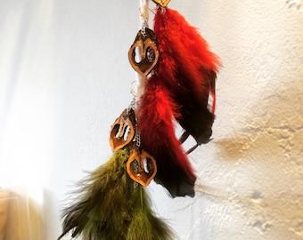 Walnut Heart Dangle Feather Earrings