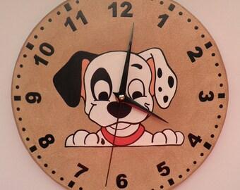 Dalmata clock  puppy kids room, modern wall clock, wooden wall clock, Housewares, nursery décor, gift for children, unique wall clock, clock