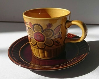Royal Worcester Palissy Sierra Cup and Saucer