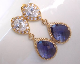 Wedding Jewelry, Cubic Zirconia and Purple Earrings, Bridal Jewelry, Tanzanite, Amethyst, Gold Earrings, Mother's Gift, Post,Dangle, Gifts