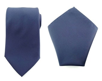 Mens Necktie Navy Blue 8.5 CM Necktie with Pocket Square. Navy Blue Wedding Tie. Necktie Pocket Square. Formal Tie. Matching Tie and Hanky