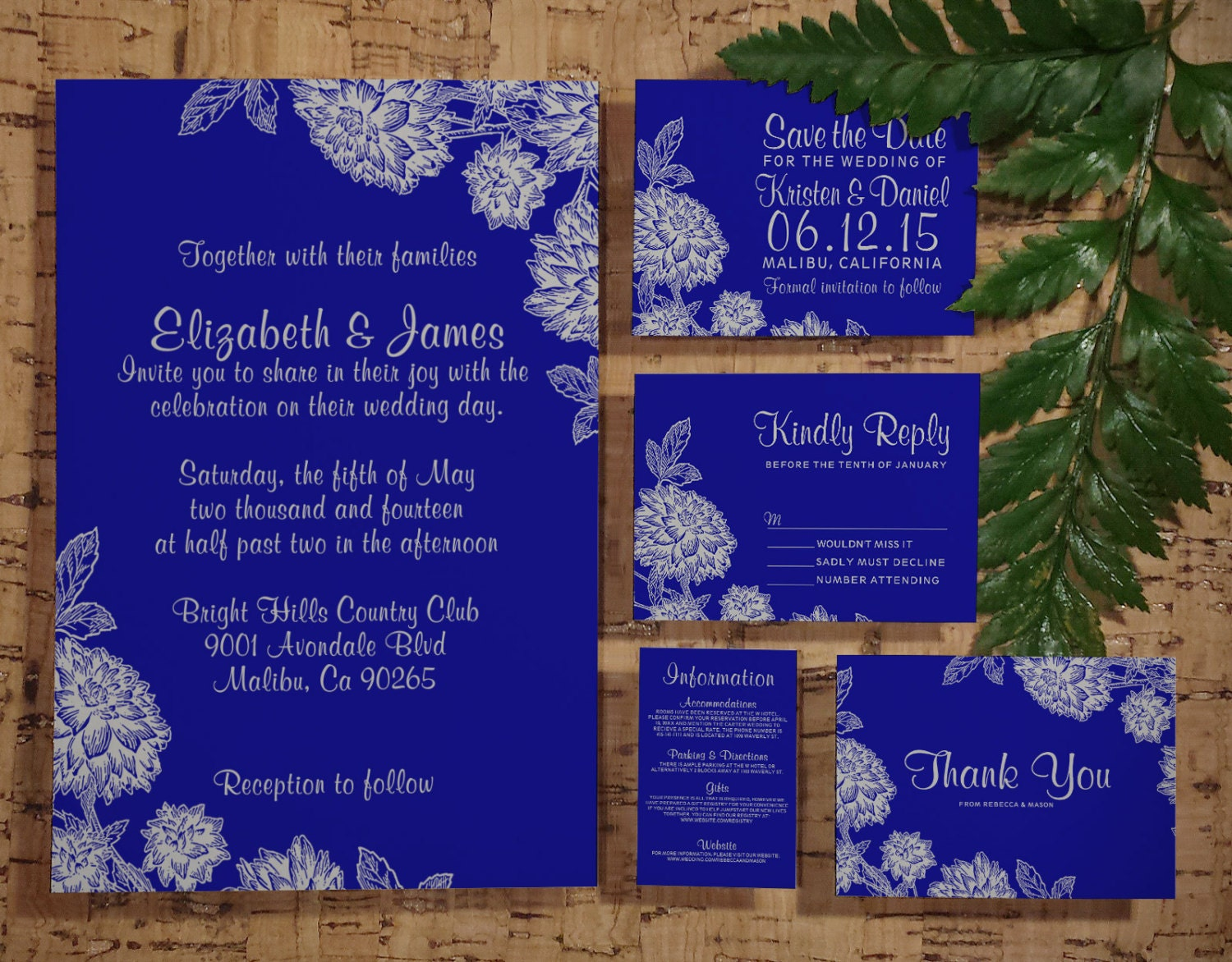 Royal Blue Wedding Invitation Cards: Elegant Royal Blue Wedding Invitation Set/Suite By