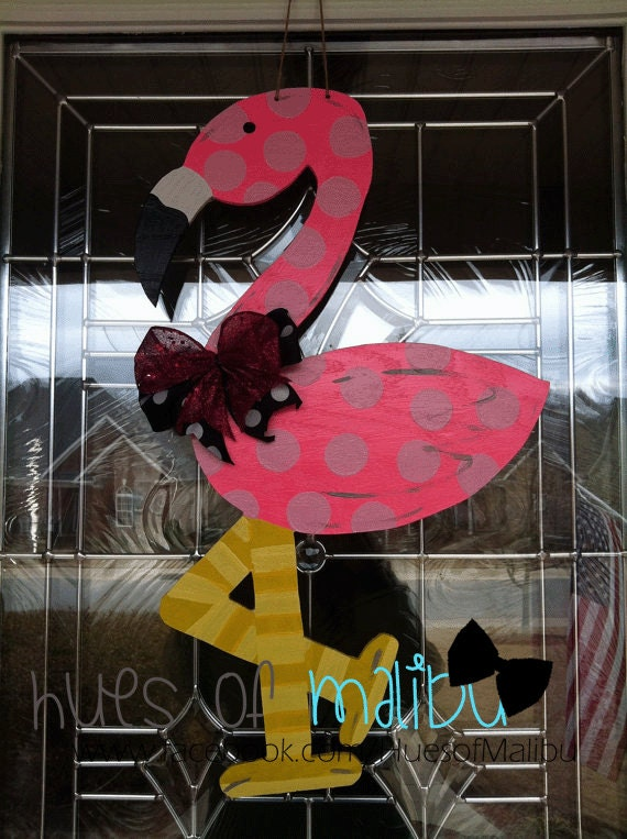 Flamingo Door Hangers Wooden