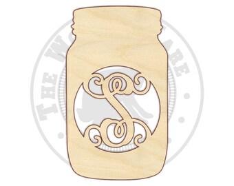 """Mason Jar Decor - 18-24"""" - Mason Jar Monogram - Personalized Mason Jar - Mason Jar Wall Decor - Mason Jar Door Hanger - 210140"""