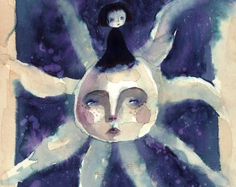 Girl & Her Sun (print of my original painting)