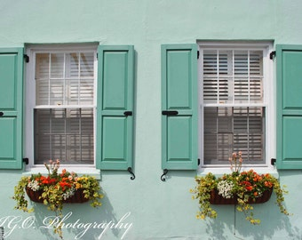 Charleston Photography - South Carolina Art - Windows of Charleston - Fine Art Photography - Southern Travel Photography - Pastel Green