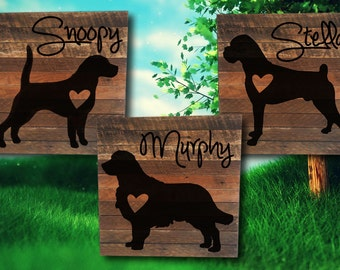 Personalized Dog Sign on Reclaimed Wood - pet silhouette - pet memorial - dog sign - dog silhouette - pet painting