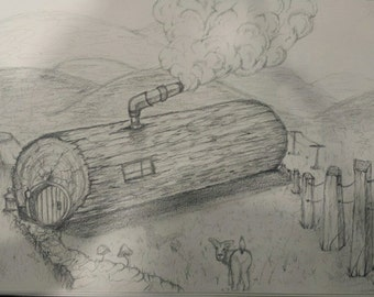 Original Log home cabin drawing 10x6 inches