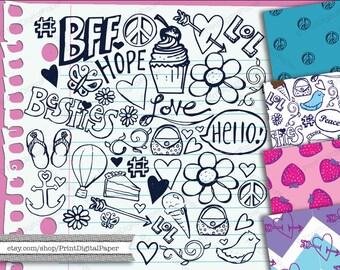 Notebook Doodles Digital clip art Instant Download Clipart tween teen scribble doodle girly drawings hand drawn vector cupcake LOL peace
