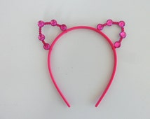 Ariana Grande Cat ears/ Pink Cat ears Rock Concert/ White Kitty Pink ears/ Goth