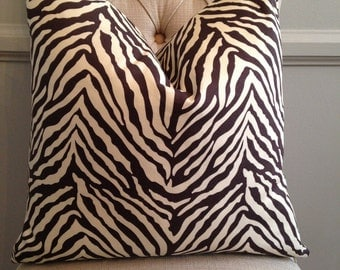 Handmade Decorative Pillow Cover - Chocolate Brown - Zebra - Animal Print