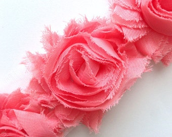 light coral Shabby Flower -  Wholesale Shabby Chic Flower - Shabby  Chiffon Flower by the Yard - salmon Shabby Flower