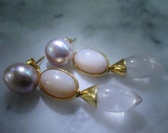 TOM K Earrings Mix &Match Studs Pearl Hooks Rose Moonstone  Thaiti quartz Agate Smoky Ballroom Bride Briolett Drops Beads Gold Citrin