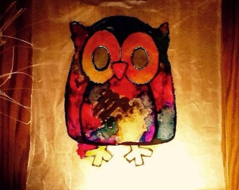 Wall Hanging Faux Stained Glass Suncatcher Nursery Decor Owl