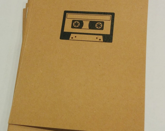 Retro Cassette Mini Notebook - diary, journal, party favors, multipack, tape player, old school, custom printing included