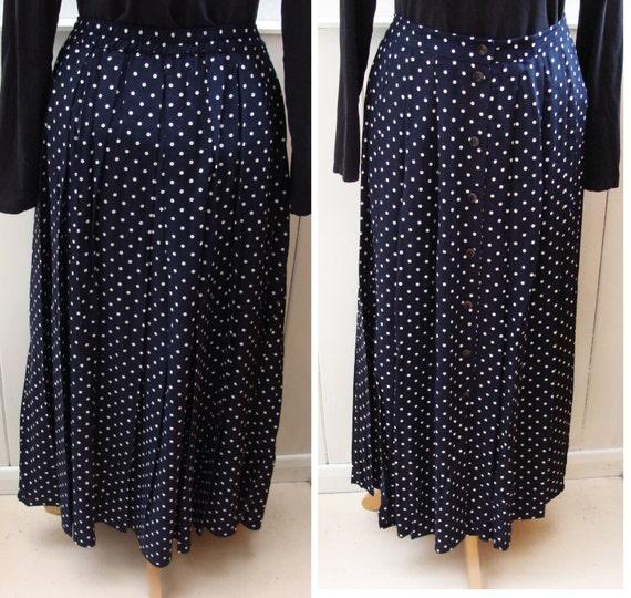 vintage blue maxi skirt polka dot navy 1990s marks and spencer