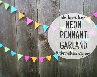 NEON garland - neon bunting, neon triangle garland, neon bunting, neon banner garland, neon pennant garland
