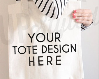 Canvas Tote Bag Styled Photograph Stock Photo - Product Photograph F169