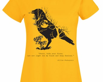 Shakespeare shirt. Macbeth quote t shirt with crow and moon. Raven blackbird art goth tee for women. Ladies girl steampunk tees yellow black