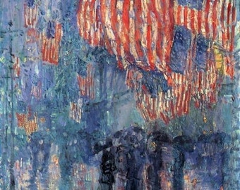 100% handpainted The Avenue in the Rain - Frederick Childe Hassam oil painting reproduction for home decor wall art