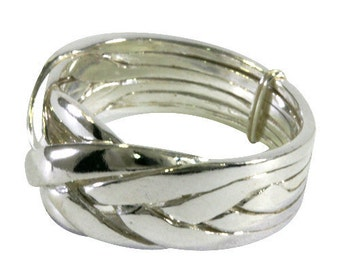 Puzzle ring in 925 Sterling silver, 6 bands