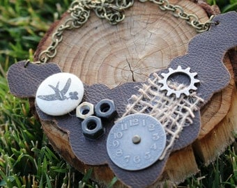 Leather Mixed Oddities Bib Necklace
