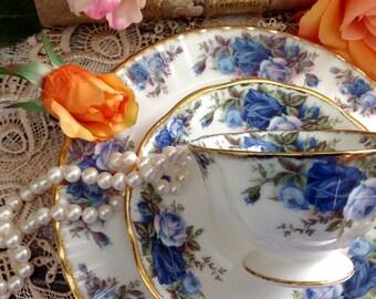 Dazzling MINT Rare Royal Albert Moonlight Rose Breakfast Cup, Saucer, Salad/ Dessert Plate Trio #179
