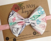 Baby/Girl White Pink and Turquoise Gem Diamond Print Fabric Bow Headband or Hair Clip
