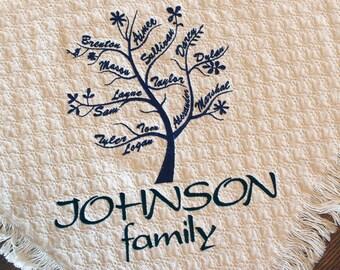 Personalized Family Tree Blanket | Custom Embroidered Family Throws | Blankets | Grandma Gift grandchildren | Anniversary | Grandpa Birthday