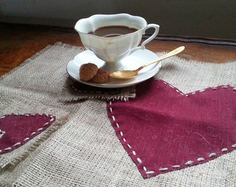 Eco Rustic linen and hessian   table runner with coasters  hearts  set by SF. Valentine's Day Gift