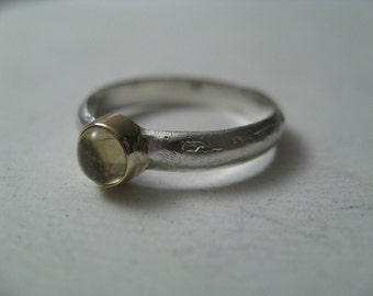Beautiful Gold & Silver delicate Ring-Yellow Tourmaline-Solid 14k yellow Gold and Silver 925 Ring-READY TO SHIP!