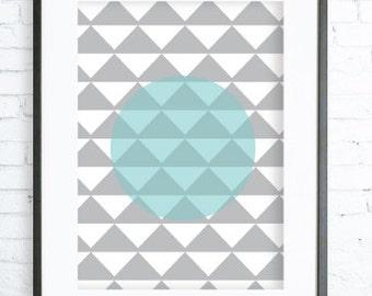 Instant Download Printable, Triangles Pattern , Print Art,  Modern Art Print, Poster, digital art, Print, Triangle art, Triangle print