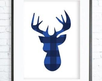 Instant Download Printable, Blue Deer Print, Blue Wall Art, Deer Art Print, Dear Wall Art, Blue Home Decor, Deer Wall Art, office artwork